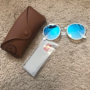 New ray ban blue gradient mirrored sunglasses
